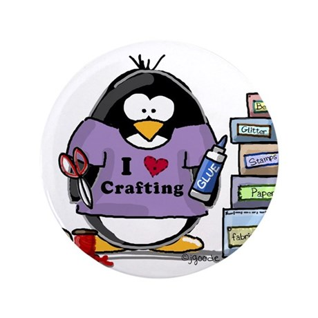 "I love crafting penguin 3.5"" Button"