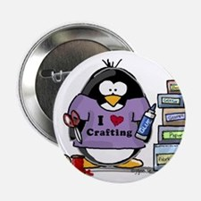 """I love crafting penguin 2.25"""" Button"""