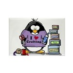 I love crafting penguin Rectangle Magnet (100 pack