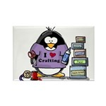 I love crafting penguin Rectangle Magnet