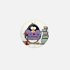 I love crafting penguin Mini Button
