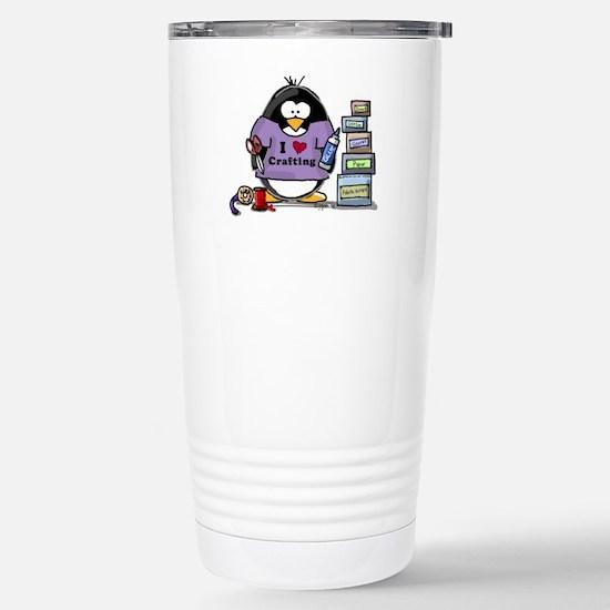 I love crafting penguin Stainless Steel Travel Mug