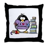 I love crafting penguin Throw Pillow