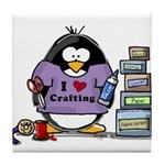 I love crafting penguin Tile Coaster