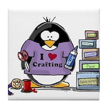 I love crafting penguin Tile Coaster