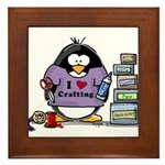I love crafting penguin Framed Tile