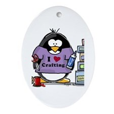 I love crafting penguin Ornament (Oval)