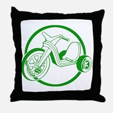 Green Tricycle Throw Pillow