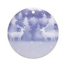 Reindeer Winter Scene Ornament (Round)