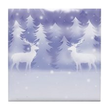 Reindeer Winter Scene Tile Coaster