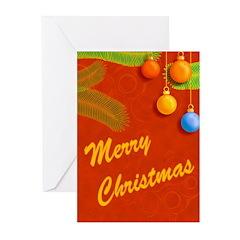 Colored Xmas baubals and holly Greeting Cards (Pk