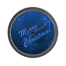 Blue Christmas Snowflakes Wall Clock