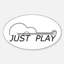 Just Play Guitar Sticker (Oval)
