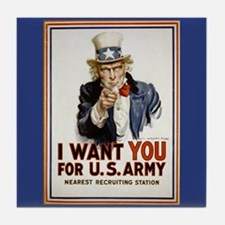 WWII Uncle Sam Recruiting Poster Art Tile Coaster