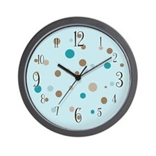 Brown & Turquoise Numbered Polka Dot Wall Cloc