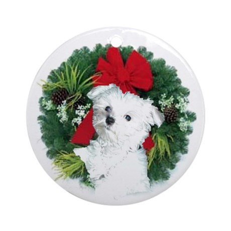 Maltese Wreath Cards Ornament (Round)