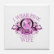 I Wear Pink for my Wife (floral) Tile Coaster