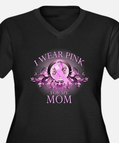 Wear Pink for my Mom (floral) Women's Plus Size V-