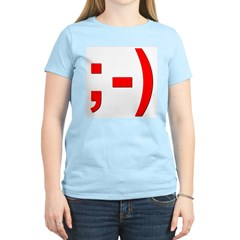 Winking Smiley Face Women's Pink T-Shirt