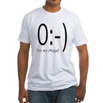 Angel Text Smiley Face Fitted T-Shirt