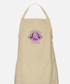 I Wear Pink for my Cousin (floral) Apron