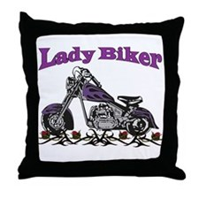 The Lady Biker Throw Pillow