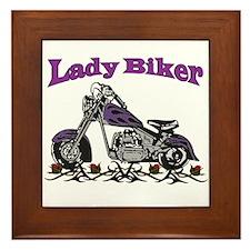 The Lady Biker Framed Tile