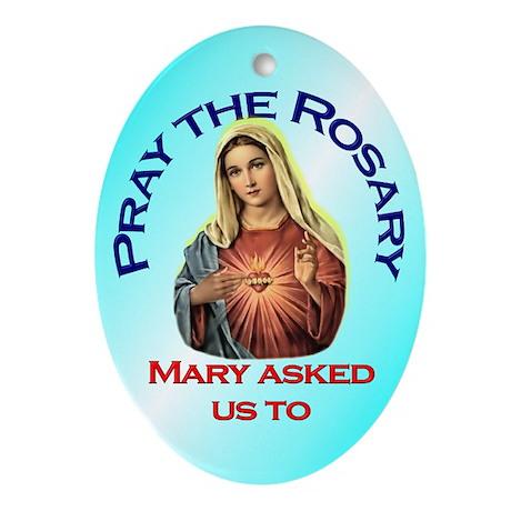 Pray the Rosary - Handmade Porcelain Ornament (Ova