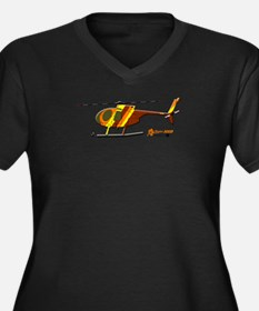Hughes 500D Helicopter. Plus Size V-Neck T-Shirt