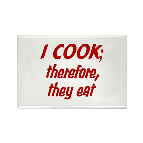 I Cook, They Eat (red) Rectangle Magnet (100 pack)