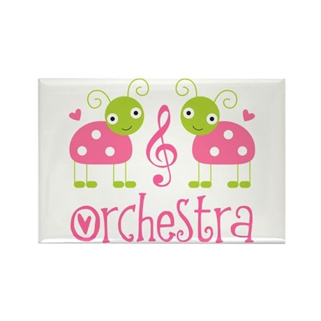 Cute Ladybug Orchestra Rectangle Magnet