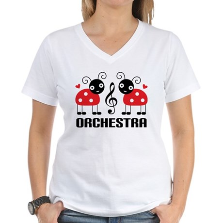 Ladybug Orchestra Music Women's V-Neck T-Shirt