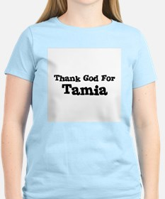Thank God For Tamia Women's Pink T-Shirt