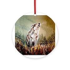 Singing Wolf Ornament (Round)