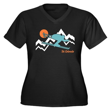 Ski Colorado Women's Plus Size V-Neck Dark T-Shirt