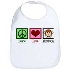 Peace Love Monkeys Bib