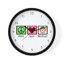 Peace Love Monkeys Wall Clock