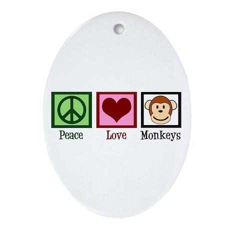 Peace Love Monkeys Ornament (Oval)