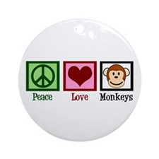 Peace Love Monkeys Ornament (Round)