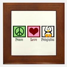 Peace Love Penguins Framed Tile