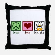 Peace Love Penguins Throw Pillow