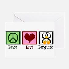 Peace Love Penguins Greeting Card