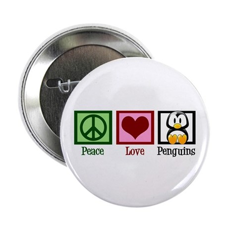 "Peace Love Penguins 2.25"" Button"