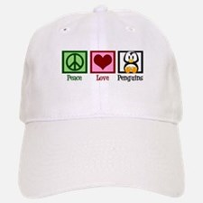 Peace Love Penguins Baseball Baseball Cap