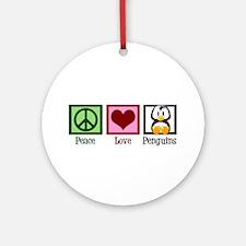 Peace Love Penguins Ornament (Round)