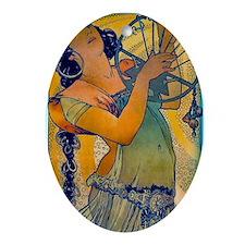 Alphonse Mucha Ornament (Oval)