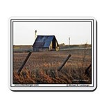 Barn, windmill, leaning fence, farm, Iowa,Mousepad