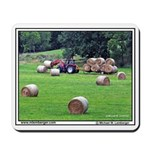 Round Bales of Hay being collected, Mousepad