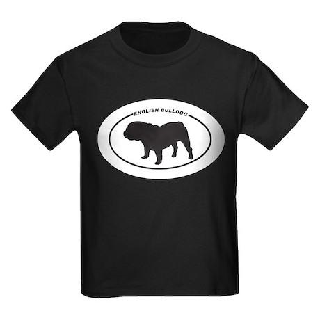 English Bulldog Silhouette Kids Dark T-Shirt