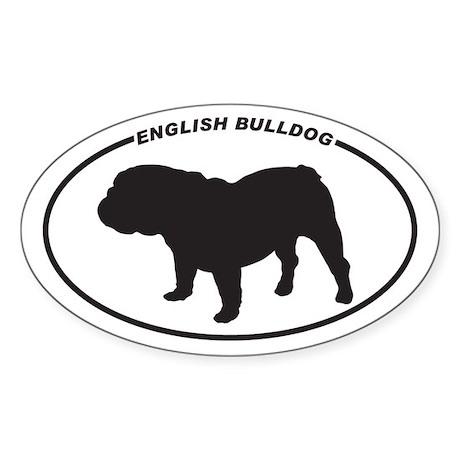 English Bulldog Silhouette Sticker (Oval)